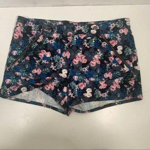 I Heart Ronson - floral double zip shorts